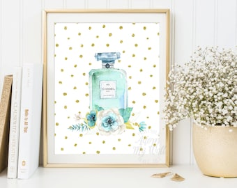 Chanel Perfume Print, Gift for her, Gift for woman, Watercolour Chanel No 5, Chanel prints, Posters, Coco Chanel Art, Fashion Print, Floral