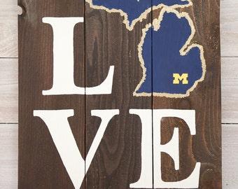 LOVE University of Michigan Wooden Sign