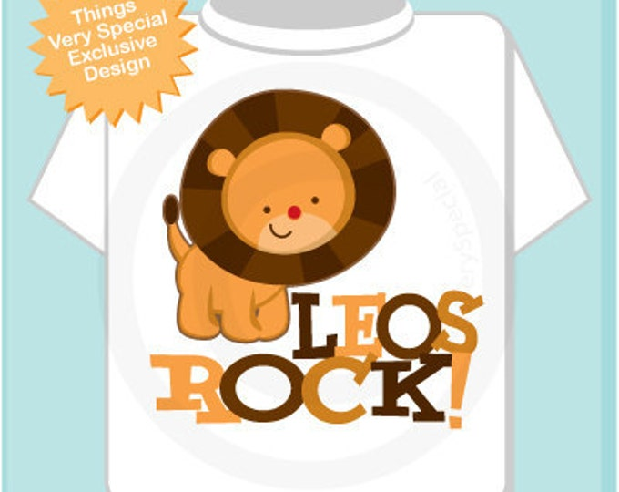 Personalized Leo Lion Shirt Leos Rock Lion July or August Birthday Baby Tee Shirt or Onesie (08022011a)
