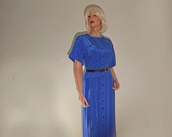 Memorial Day Sale Vintage Liz Claiborne Mid-Calf Button Front Bright Blue Pleated Dress and Belt  -  Size 8