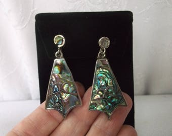 Vintage Mid Century Sterling Silver Abalone Dangle Earrings, Beautiful older Mexican Silver screwback Earrings