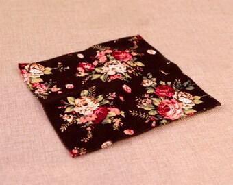 Black Floral Pocket Square | Flower | Groom | Men | Wedding | Handkerchief | Fall | Ideas | gifts |  for him