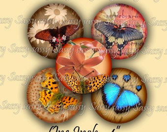 Butterflies & Flowers One Inch Circles Collage Sheet set of 48