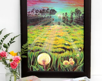 New Beginnings / Painting / Acrylic/ Canvas / Sunrise / Sunset/ Dandelion / Wishes / Landscape / Art Print / Spring / Summer / 11x14