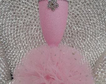 Pink Glitter Wine Flute with Tulle Skirt