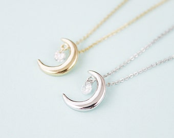 Crescent with Tiny Cubic Necklace . Tiny Charm Necklace Bridesmaid Necklace Bridesmaid Gift Birthday Gift