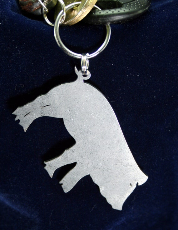Stainless Steel Pig Silhouette Keychain Charm Ornament