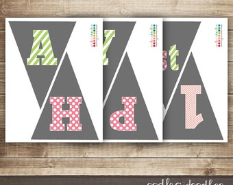 Happy 1st Birthday Bunting / First Birthday Banner  / Girl's Pink & Green, Chevron, Stripes and Polka Dots  / INSTANT DOWNLOAD - Printable