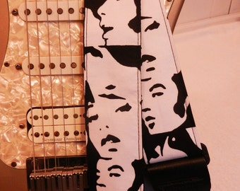 mod faces black and white indie guitar strap