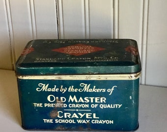Crayon Box Antique Tin Omega Chalkboard Vintage Advertising School