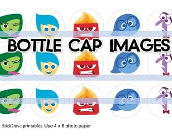 """Inside out printables  4x6 - 1"""" circles, bottle cap images, face intensamente"""