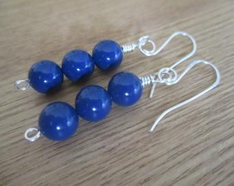 Blue pearl earrings, Swarovsky pearl earrings, blue dangle earrings, blue drop earrings, sterling silver earrings, blue pearls with silver