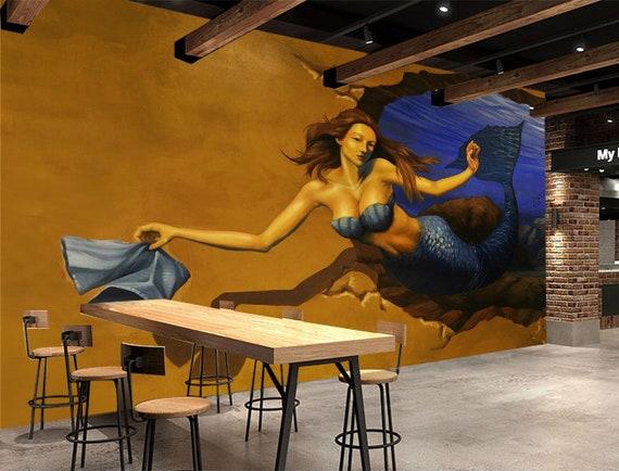 3D Mermaid Wallpaper Mural by AJWALLPAPERS