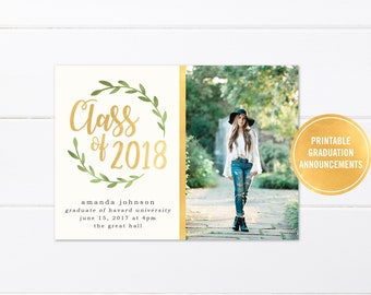 College Graduation Invitation Printable or Printed, High School Graduation Announcement, Class of 2018 Printed Graduation Party Invitations
