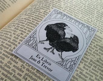 Ex Libris Wedding Love Ravens  Anniversary Engagement Valentine Wedding Gift 50 Personalized Booklabels Bookplates