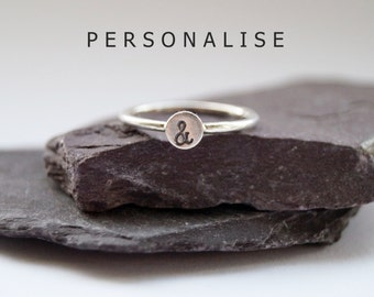Personalised Engraved Sterling Silver Ring ~ statement, stacking ring, personalized, initial, gift, monogram, stackable, symbol, stamped