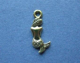 10 Mermaid Charms - Mermaid Pendants - Mermaid - Gold Tone  - 20mm x 8mm -- (E6-12095)
