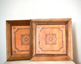 Large Italian Tile Trivets or Wall Hangings, Set of Two, Ready to Hang