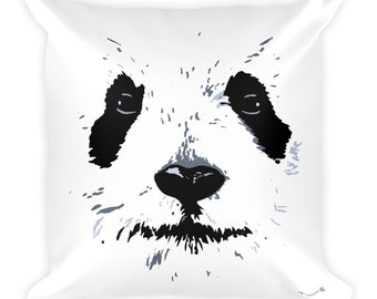 Panda Square Throw Pillow with Minimalist Design. Blended White Back with Black Zipper and Stitching Details. Cute Panda Home Accents