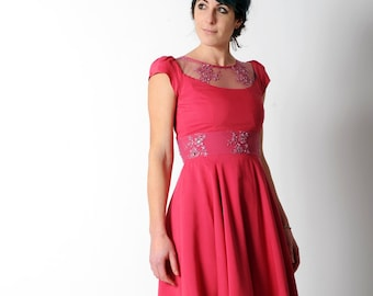 Pink cocktail dress with embroideries, Hot Pink dress with sheer neckline,Beaded lace dress,Pink wedding dress,Short sleeved  sz UK 10,MALAM