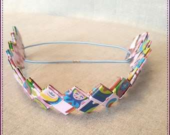 Headband, a band, multicolor, laminated, recycled paper
