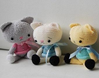 Amigurumi Crochet Cat Pattern - Spanky the Cat - Softie - Plush
