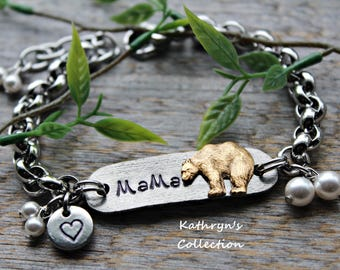 Mama Bear Bracelet, New Mom Gift, Mama Bear Jewelry, Gift for Mom, Mother's Day, Read Full Listing Details Before Ordering