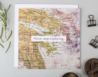 Farewell Card - Wanderlust - Never Stop Exploring - Goodbye Card - Sorry You're Leaving - Bon Voyage Card - Good Luck Card- Vintage Map Card