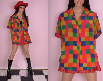 80s Colorful Checkered Shirt/ US 14/ 1980s/ Short Sleeve/ Button Down