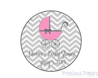 Personalized PRINTED pink baby shower sticker pink and gray chevron baby shower favor stickers pink gray chevron labels