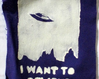 "X Files ""I Want to Believe"" Patch-Purple"