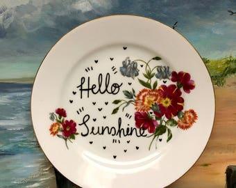 Hello Sunshine - Vintage China Empowerment Plate
