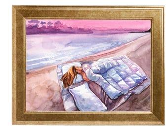 Original art print - sunrise - by Antonia Sanker in DINA4