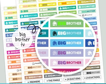 Big Brother TV Stickers - PRINTABLE silhouette cut file , printable sticker planner,  printable planner stickers,