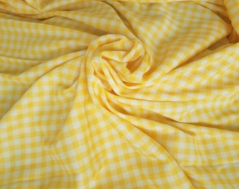 "Retro Yellow Gingham Fabric in A Polyester Knit - Vintage Stretchy Sewing Material in Yellow + White, Fun Lemon Yellow Plaid Knit, 64"" x 52"""