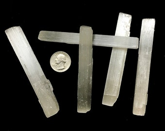 5 Rough Selenite Sticks - 4 inch Selenite Wands - Charka, Crystal Healing