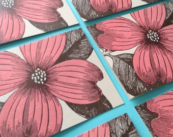 PINK DOGWOOD Cards Dogwood FLOWER 8 Greeting Cards Spring flower Thank you notes Dogwood tree notes Easter cards Letterpress cards