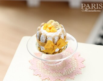 MTO-Charlotte decorated with Mango Cubes and Banana Slices - Miniature Food in 12th Scale for Dollhouse