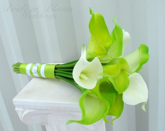 Bridesmaid bouquet, Lime green bouquet, Real touch calla lily Bridal bouquet