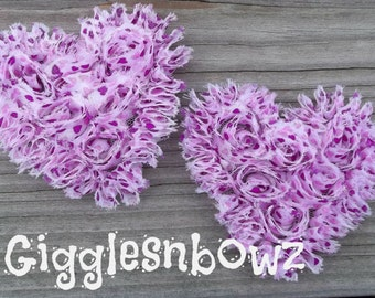NeW SMaLLeR SiZE- Set of 2 Beautiful Shabby Chic Chiffon HEART Appliques- Purple and Pink HeART PRiNT  3 inch