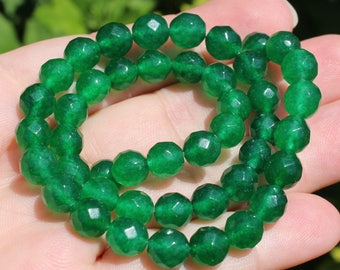 2 round Emerald beads faceted 8MM AAA - AT27