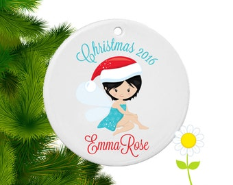 Personalized Christmas Ornament - Fairy Tree Ornament - Winter Holiday Fairy Ornament for Girls - Custom Christmas Fairy Tree Decoration