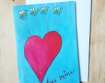 """Valentines Day Card """"Bee Mine"""" / Cute Love Cards / Bee Mine Valentines Card  / Romantic Cards / Be Mine / Greeting Cards for him for her"""