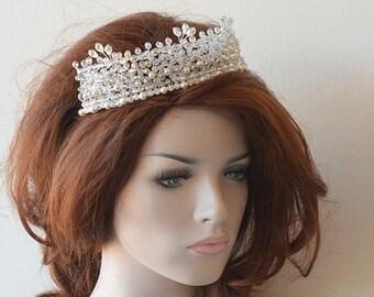 Wedding Tiara Headband, Bridal Tiara Headpiece, Pearl and Crystal Tiara Wedding, Bridal Headpiece Wedding, Headpiece for Wedding Tiara
