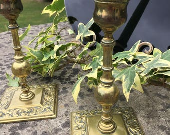 Old English Vintage Pair of Brass Candlestick Holders - Altar, Ritual, Candle Magic, Wicca, Offerings, Herbs