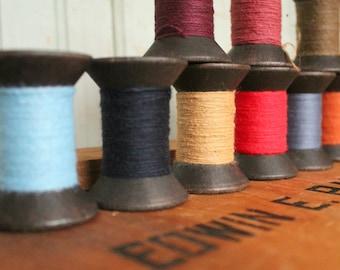 Single Primitive Spool Black Wooden Spools 2 Inch Wood Bobbins with brightly colored thread - Rustic Valentine DIY Home Studio Decor