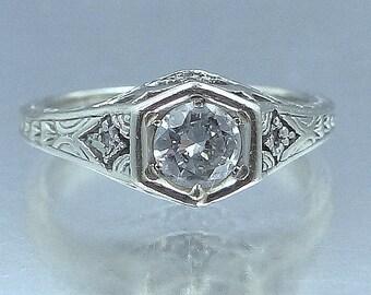 Art Deco 14k White Gold Filigree 1/2 Carat Solitaire Diamond Engagement Wedding Ring