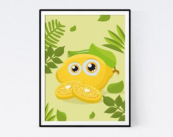 Yellow lemon poster for child's bedroom - immediate download