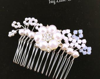 Swarovski Crystal bridal comb / hair comb Pearl glamorous hair comb Pearl hair comb silver hair, head ornament, Parur