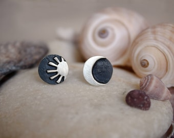 Small Sterling Silver Sun & Moon-Handmade Earrings Studs-Oxidized and Satin Finish